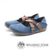 WALKING ZONE 皮革雙帶兩穿休閒鞋 女鞋 - 藍 (另有紅)