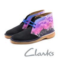 CLARKS 彩繪中幫休閒鞋 男鞋 - 黑