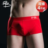 PB 皮爾帕門 平口褲 繽紛亮彩 超值4件(紅/藍)