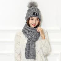 Acorn*橡果-韓系字母針織加絨毛帽+圍巾1806(兩件組-灰色)