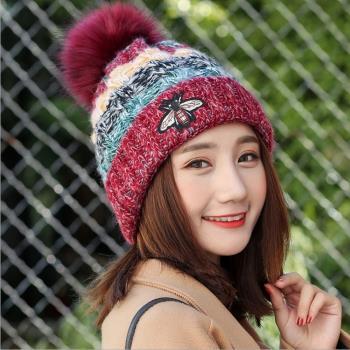 Acorn*橡果-韓系撞色內裡絨加厚保暖毛帽1807(酒紅)
