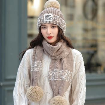 Acorn*橡果-韓系撞色針織加絨毛帽+圍巾1818(兩件組-卡其)