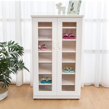 Boden-防潮防蛀 防水塑鋼2.2尺二門透視鋼鞋櫃(白色)