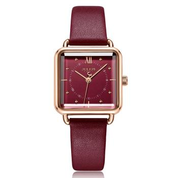 JULIUS聚利時 羅馬紀事方形皮革錶帶腕錶-五色/26mm