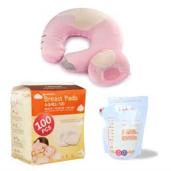 可透舒 多功能授乳枕+拋棄式溢乳墊+母乳冷凍袋40入