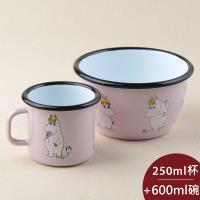Muurla 嚕嚕米杯碗組 馬克杯 250ml + 點心碗 600ml 可兒 粉紅