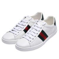 GUCCI 經典綠紅綠織帶標誌Ace牛皮休閒鞋(白)