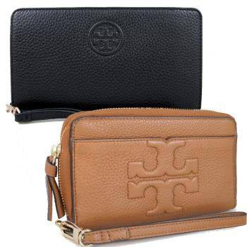 TORY BURCH 縫線LOGO全皮革ㄇ型拉鍊中夾手機包(兩款,兩色)
