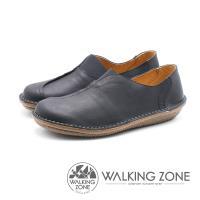 WALKING ZONE 皮革耐磨直套休閒鞋 男鞋 - 黑 (另有咖)