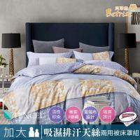 Betrise安娜蘇-咖  加大3M專利天絲吸濕排汗八件式鋪棉兩用被床罩組