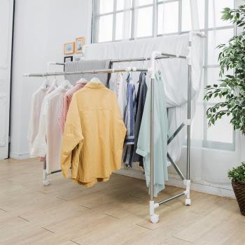 HR安室家 不鏽鋼多功能三桿伸縮曬衣架