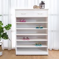Bernice-防潮防蛀 防水塑鋼2.8尺單抽開放式鞋櫃(白色)