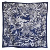 HERMES 經典Flamingo Party系列佛朗明哥風格圖騰絲質方巾/披巾(深藍X白)