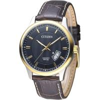 CITIZEN 都會之星品味男錶-IP金框/咖啡皮帶(BI1054-12E)
