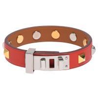 HERMES 經典Mini Dog銀色轉釦方形雙色鉚釘裝飾Swift小牛皮手環(茄紅-T2)