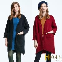 MONS英式經典造型狐狸絨長版外套/大衣-型