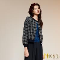 MONS國際專櫃羔羊毛時尚格紋外套