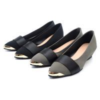【 101大尺碼女鞋】41-44碼 MIT氣質緞帶金飾楔型舒適乳膠鞋墊坡跟美鞋-黑色/灰色-080131711-89