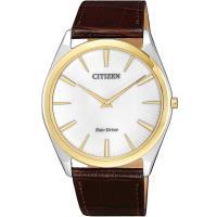 CITIZEN星辰 光動能 內斂沉穩薄型設計腕錶(銀x金框/ 39mm) AR3074-03A