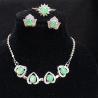 幸運四葉草 天然A貨 緬甸玉 翡翠蛋面鑲嵌三件套組 -品澐珠寶