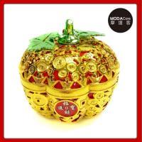 摩達客-農曆春節新年-簍空金蘋果開運造型糖果盒(中)擺飾桌飾收納盒