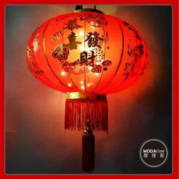 摩達客-農曆春節元宵-80cm萬事如意金線大紅燈籠(單入)+LED50燈插電式燈串暖白光(附IC控制器)