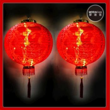 摩達客-農曆春節元宵-16吋植絨魚福紅燈籠(一組兩入)+LED50燈插電式燈串暖白光(附IC控制器)