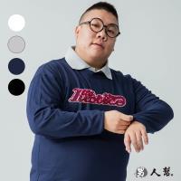 男人幫-T5690*MIT 台灣製造字母美式貼布立體圖案純棉長袖T恤情侶T
