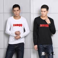男人幫-T5684*MIT 台灣製造 ZOBOO99字母美式貼布立體刷毛圖案純棉長袖T恤 情侶T
