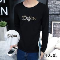 男人幫-T5689 MIT 台灣製造 英文字母美式貼布立體圖案亮片純棉長袖T恤 情侶T