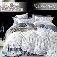 KOSNEY  晨暮間灰 雙人100%天絲TENCE六件式兩用被床罩組