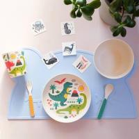 美國Petit Collage 天然竹纖維餐具組-恐龍世界