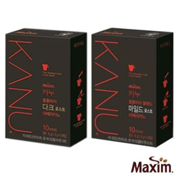 MAXIM麥心 韓國KANU孔劉美式 深焙/中焙 黑咖啡4盒組(1.6g×10入/盒)