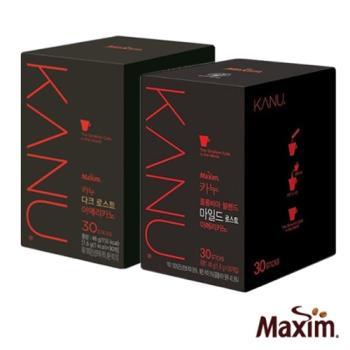 【即期品出清】MAXIM麥心 韓國KANU孔劉美式 深焙/中焙 黑咖啡2盒組(1.6g×30入/盒)