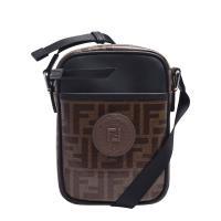 FENDI 經典品牌LOGO帆布包身牛皮飾邊拉鍊肩/斜背包(小-黑)
