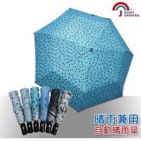 【Kasan】三折防風自動開收晴雨傘(青色波點)