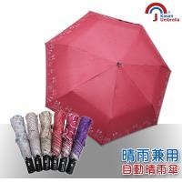 【Kasan】三折防風自動開收晴雨傘(紅點萌貓)