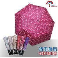 【Kasan】三折防風自動開收晴雨傘(桃色圈圈)