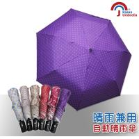 【Kasan】三折防風自動開收晴雨傘(紫色圓點)