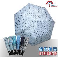 【Kasan】三折防風自動開收晴雨傘(繽紛藍點)