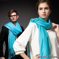 Seoul Show首爾秀 60支紗素色長鬚100%純羊毛圍巾保暖披肩 天藍