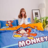 獨家潮牌 BANANA MONKEY 猴子全版印花法藍紗雙人被套床包四件組-淘氣海盜