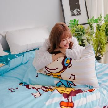 獨家潮牌 BANANA MONKEY 猴子全版印花法藍紗雙人被套床包四件組-音符跳躍