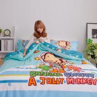 獨家潮牌 BANANA MONKEY 猴子全版印花法藍紗雙人被套床包四件組-星際奇航