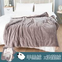 eyah 北歐時尚雙面加厚法蘭絨羊羔絨毯2入組-淺灰