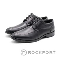 ROCKPORT 車線防潑水圓頭綁帶皮鞋 男鞋 - 黑