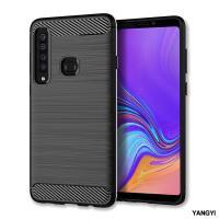 YANGYI揚邑-Samsung Galaxy A9 2018 拉絲紋碳纖維軟殼散熱防震抗摔手機殼-黑