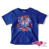 天使霓裳-童裝 運動潮流 學院風圖騰兒童短袖T恤上衣(藍)