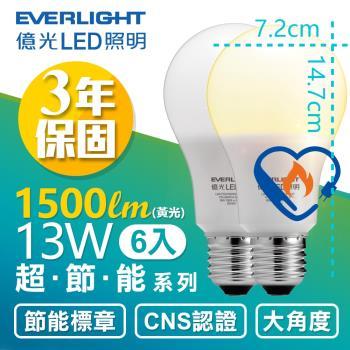 買就送10W LED 全電壓 1顆!【Everlight 億光】6入組- 13W 超節能 LED 燈泡 全電壓 E27 節能標章 (白/黃光 )