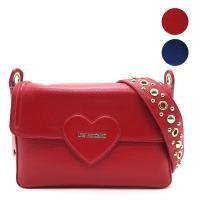 【MOSCHINO】LOVE MOSCHINO系列 經典愛心LOGO鉚釘裝飾 掀蓋 手提/斜背 二用包 (藍/紅)
